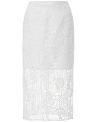 Nicholas Fleur Lace Pencil Skirt White