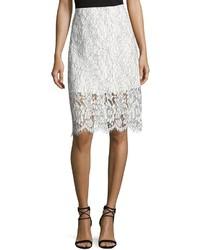 Keepsake Porcelain Lace Pencil Skirt Ivory