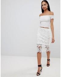 Missguided Premium Lace Midi Skirt