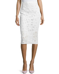 Rebecca Taylor Lace Pencil Midi Skirt White