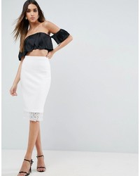 Asos Scuba Pencil Skirt With Lace Hem