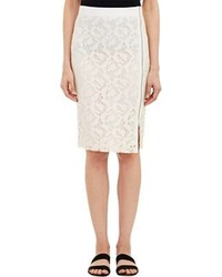 Sea Lace Faille Pencil Skirt White