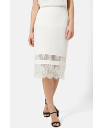Topshop Lace Insert Body Con Tube Skirt