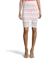 Rebecca Minkoff White And Persimmon Orange Lace Angelica Pencil Skirt