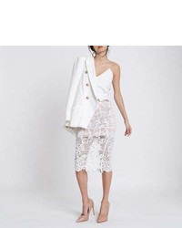 River Island White Lace Pencil Skirt