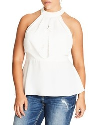 City Chic Plus Size Over Shadow Peplum Top