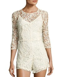 Neiman Marcus 34 Sleeve Lace Romper Ivory