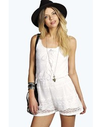 Boohoo Suzy Lace Up Front Sleeveless Playsuit