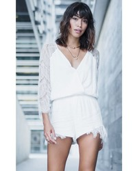 Concrete Runway Dream Girl White Lace Romper