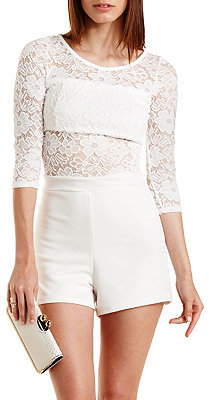 198eda1f0908 ... White Lace Playsuits Charlotte Russe Floral Lace Cut Out Romper ...