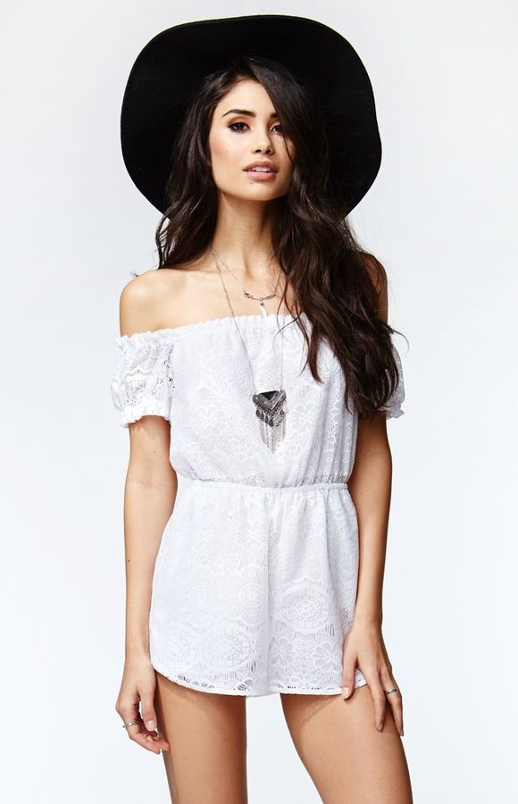 ecb26f65a42 ... Lace Playsuits Kendall Kylie Short Sleeve Off Shoulder Romper ...