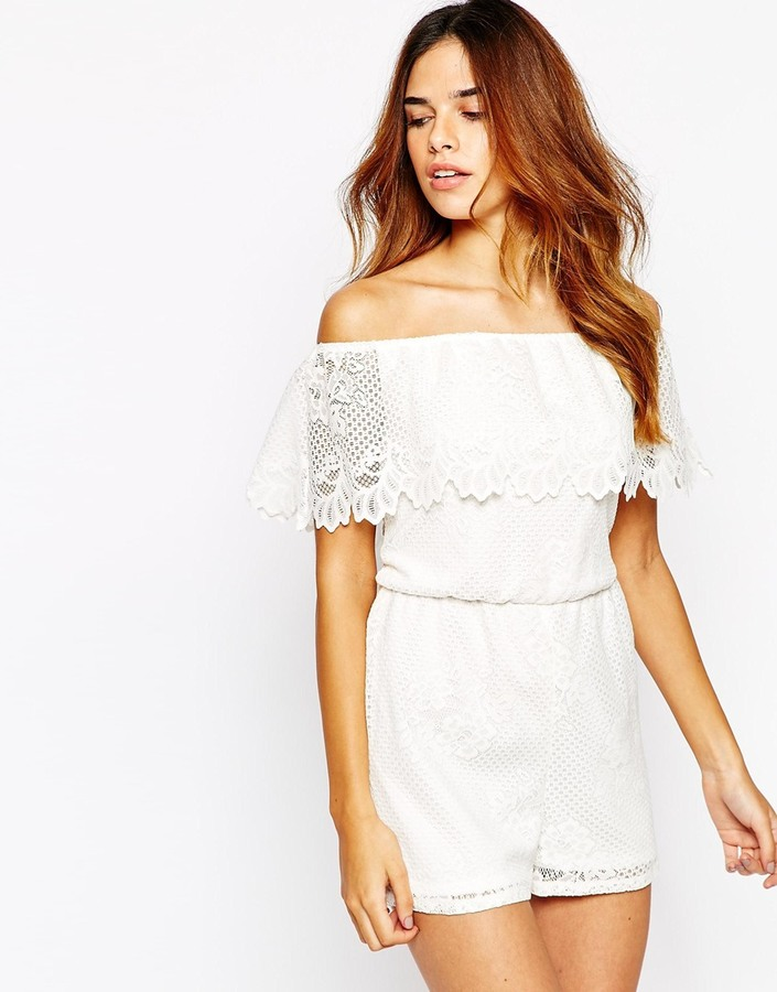 e77af0e9dac ... White Lace Playsuits Lipsy Michelle Keegan Loves Off Shoulder Lace  Romper ...