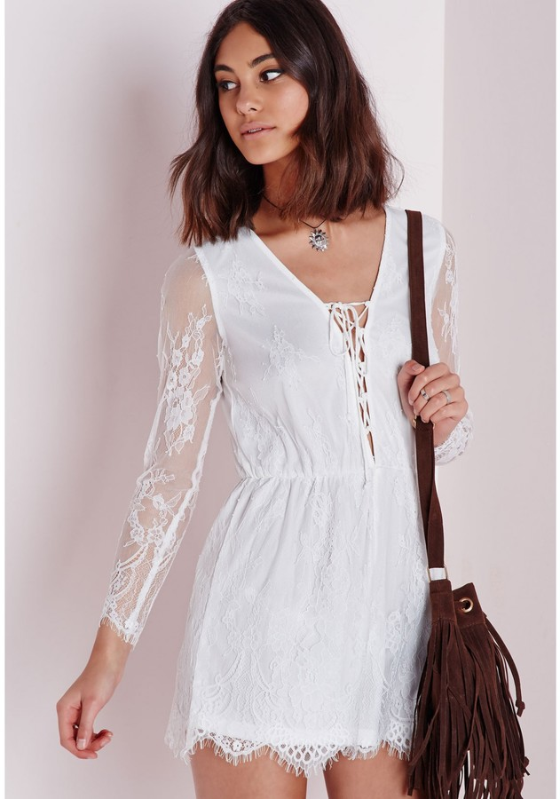 411928d90cd7 Missguided Lace Long Sleeve Romper White