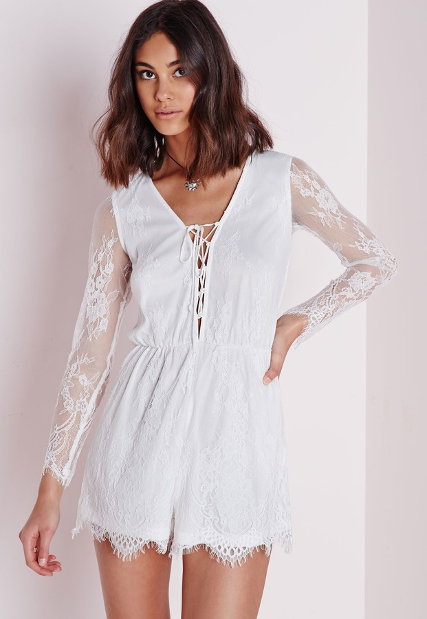 ee3be0b4b06b ... Missguided Lace Long Sleeve Romper White ...