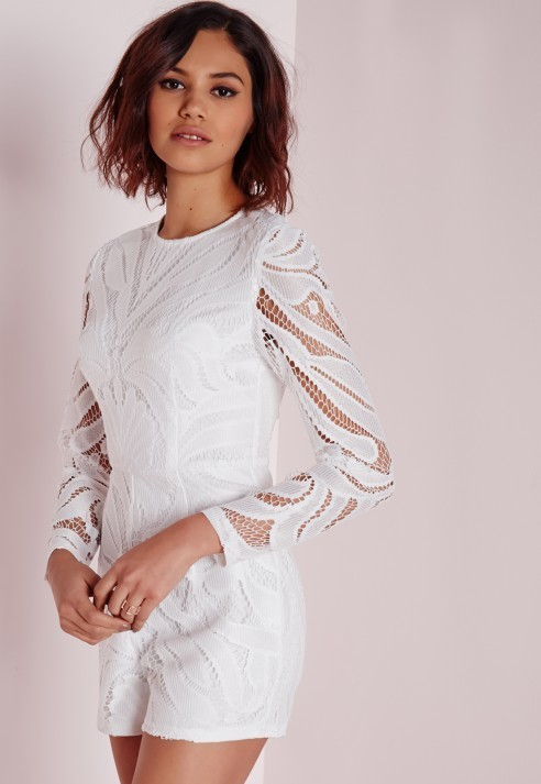 4c3cbd103099 ... Missguided Long Sleeve Lace Romper White ...