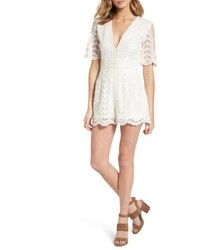 Socialite Plunging Lace Romper