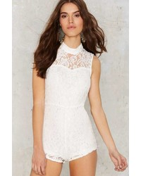 Factory Stuck On You Lace Romper White