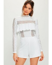 Missguided White Lace Insert Frill Long Sleeve Playsuit