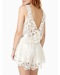 White Sleeveless Backless Crochet Lace Playsuit