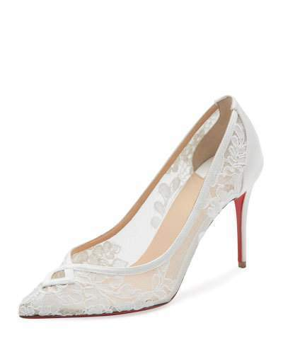 the best attitude 8c400 88f21 $795, Christian Louboutin Neoalto Lace 85mm Red Sole Pump White