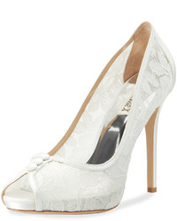 Badgley Mischka Nerissa Peep Toe Lace Pump White