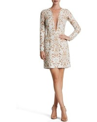 Dress the Population Claudia Plunging Illusion Sequin Lace Minidress