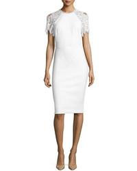 Lela Rose Lace Sleeve Sheath Dress White