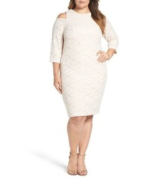 Eliza J Plus Size Bonded Lace Cold Shoulder Sheath Dress