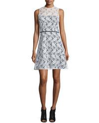 Carolina Herrera Sleeveless Sheer Yoke Lace Sheath Dress Ivory