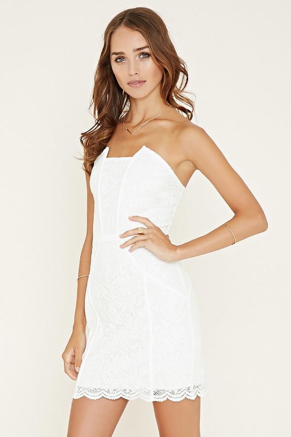 34b05d9afa3 ... White Lace Sheath Dresses Forever 21 Strapless Lace Dress ...