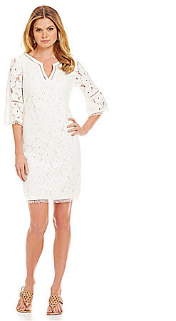 d7e15f6ceb ... Adrianna Papell Bell Sleeve Lace Shift Dress ...