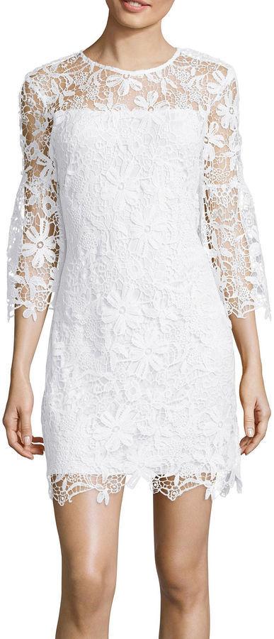 47b86817d Bisou Bisou Bell Sleeve Lace Shift Dress, $86 | jcpenney | Lookastic.com
