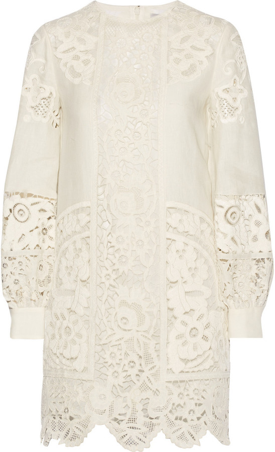 a9b455ff2b63 Valentino Broderie Anglaise Linen Mini Dress