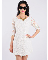 Choies White Lack Shift Dress