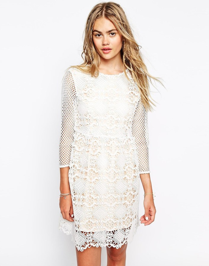 150 Little White Lies Cutwork Lace Dress With Mesh Sleeves