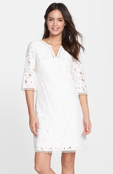 Adrianna papell blue lace shift dress