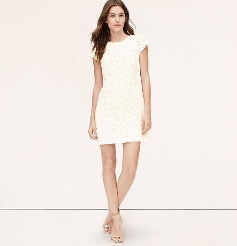 f3f7ca97326d LOFT Petite Short Sleeve Lace Shift Dress, $98 | LOFT | Lookastic.com