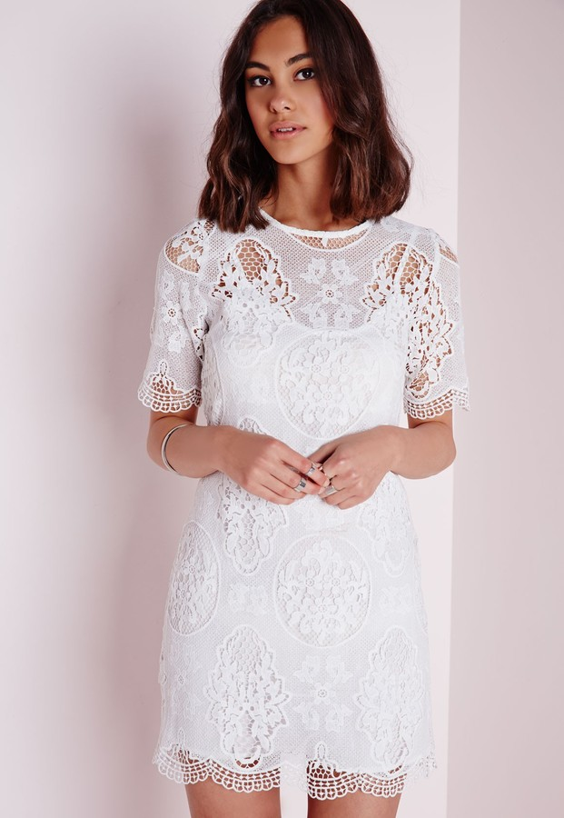 70 Missguided Crochet Lace Overlay Shift Dress White