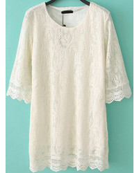 Round Neck Lace Shift White Dress