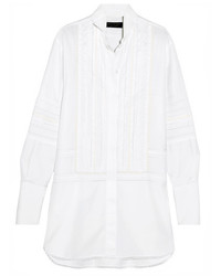 Burberry Pintucked Macram Lace Paneled Cotton Shirt White