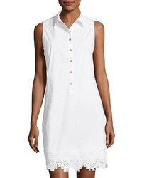 Neiman Marcus Lace Trim Sleeveless Shirtdress White