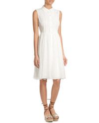 Diane von Furstenberg Sleeveless Shirtdress With Lace Eyelet Paneling