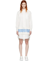 MSGM White Ruffle Lace Shirt Dress