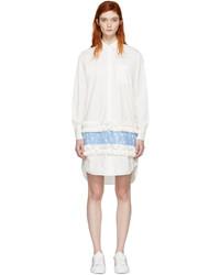 MSGM White Ruffle Lace Shirt Dress