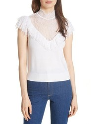 Alice + Olivia Beth Lace Ruffle High Neck Top