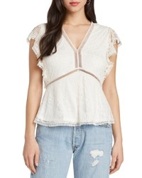 Willow & Clay Contrast Lace Peplum Top