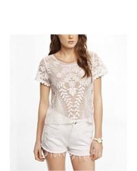 Express Short Sleeve Baroque Lace Tee White Medium