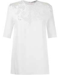 Perforated lace panel blouse medium 6752631