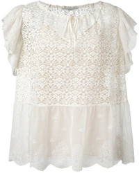 Ruffled short sleeve top medium 6752630