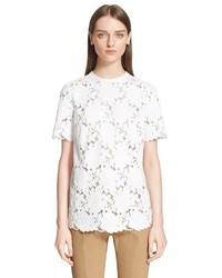 Lanvin Short Sleeve Lace Blouse